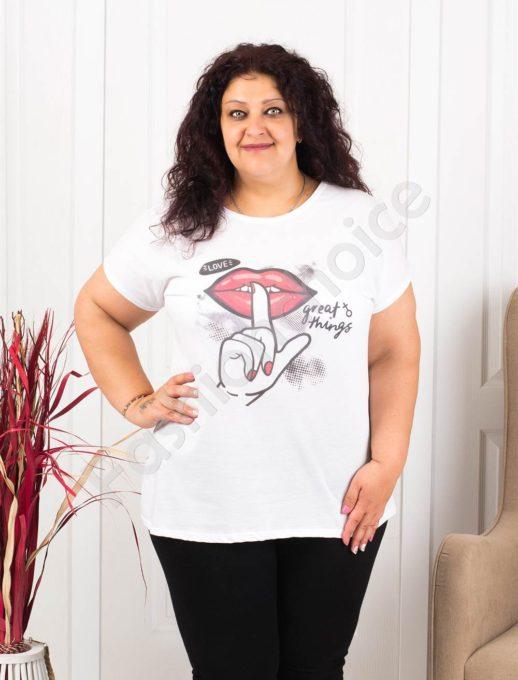 Plus size μπλούζα σε λευκό με τύπωμα-κωδ 614