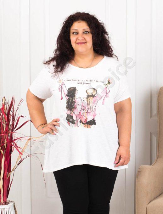 Plus size μπλούζα σε λευκό με τύπωμα κορίτσια-κωδ 614-1