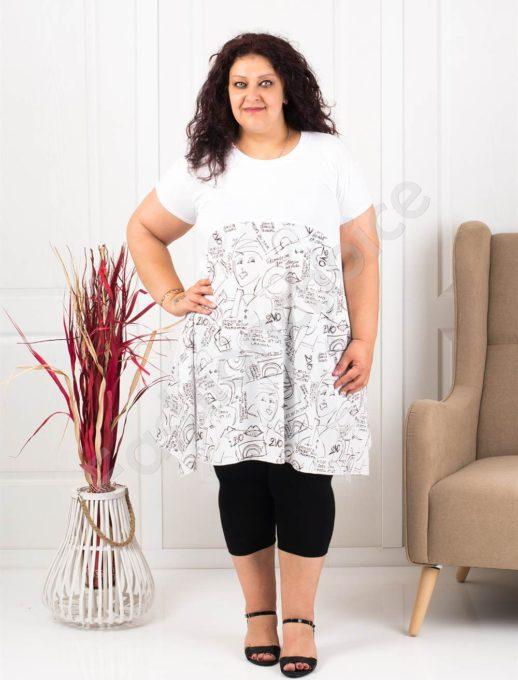 Φόρεμα-τουνίκ σε λευκό με Cartoon Print κωδ 613