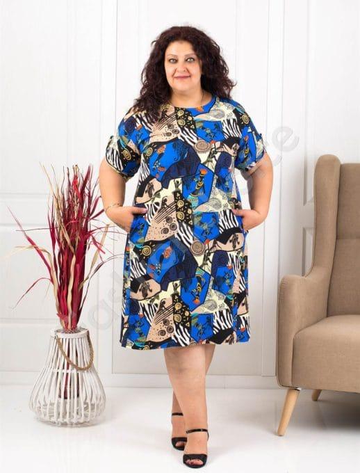 Φόρεμα-τουνίκ με μοντέρνο ντεσέν-μπλε κωδ 8294-1