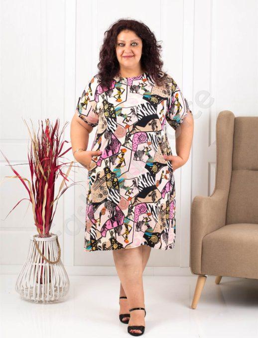 Φόρεμα-τουνίκ με μοντέρνο ντεσέν-ροζ κωδ 8294-2