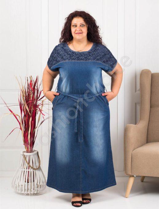 Μάξι τζιν φόρεμα με δαντέλα-λεπτό denim κωδ 414