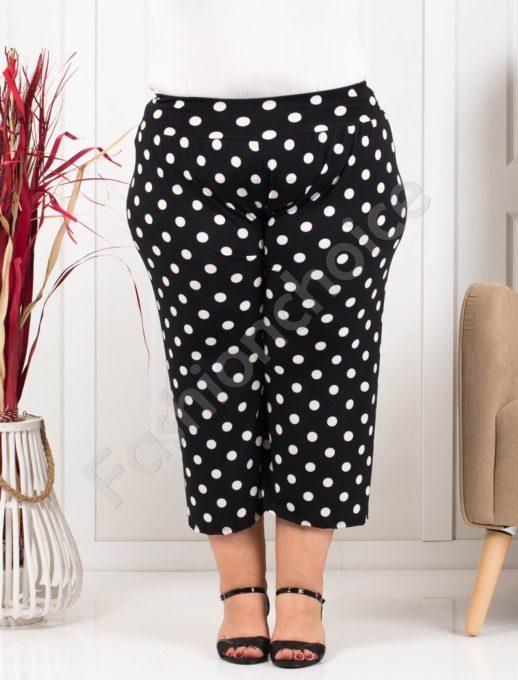 Plus size κάπρι παντελόνι σε μαύρο με πουά κωδ 617