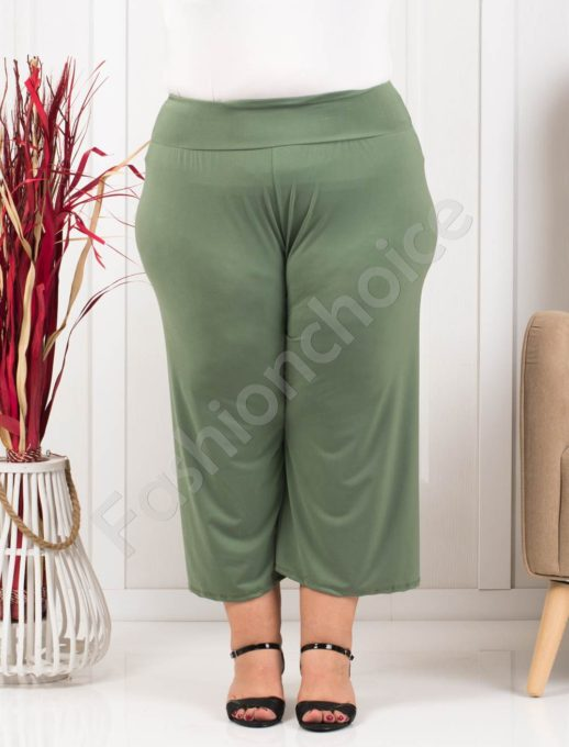 Plus size κάπρι παντελόνι σε χακί κωδ 616-1