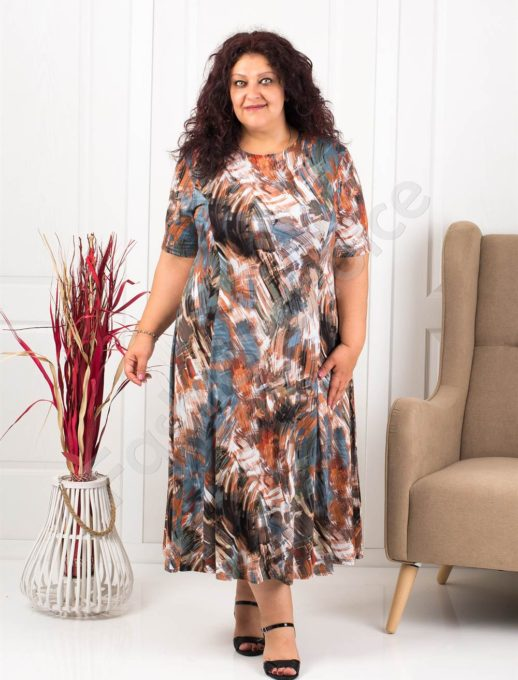 Plus size φόρεμα με σχέδια-καφέ κωδ 537-11