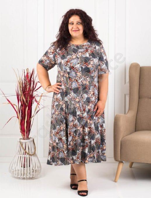 Plus size φόρεμα με σχέδια-καφέ κωδ 537-10