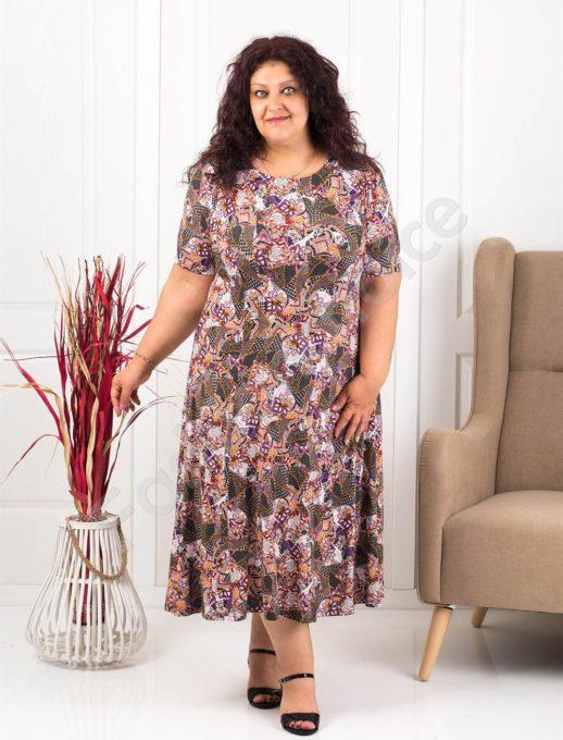 Plus size φόρεμα με σχέδια-λιλά κωδ 537-9