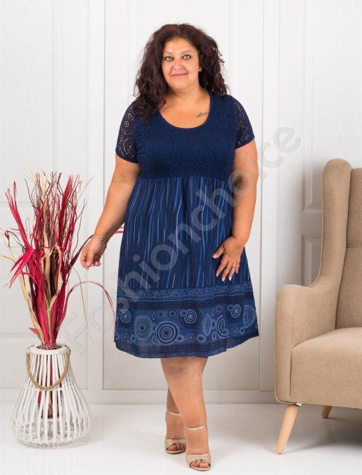 Plus size φόρεμα με μοτίβα σε σκούρο μπλε κωδ 622-7