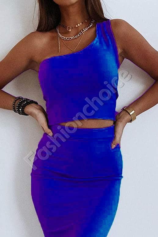 Σετ pencil φούστα και τοπ με έναν ώμο σε μπλε κωδ 996-2