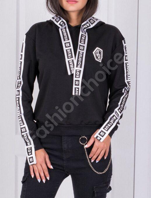 Μαύρή μπλούζα με κουκούλα και επιγραφές-κωδ 061