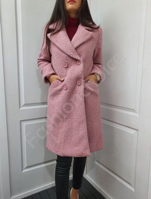 Γυναικείο μπουκλέ παλτό σε ροζ-κωδ 2058