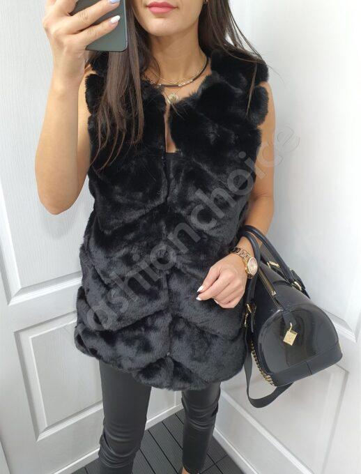 Οικολογικό γούνινο γιλέκο σε μαύρο-κωδ 26